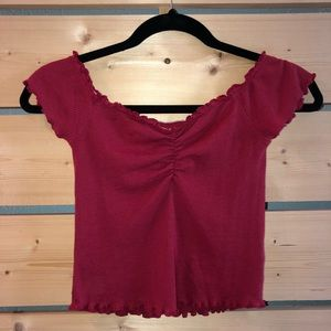 NWT Dark Red Off The Shoulder PacSun Crop Top